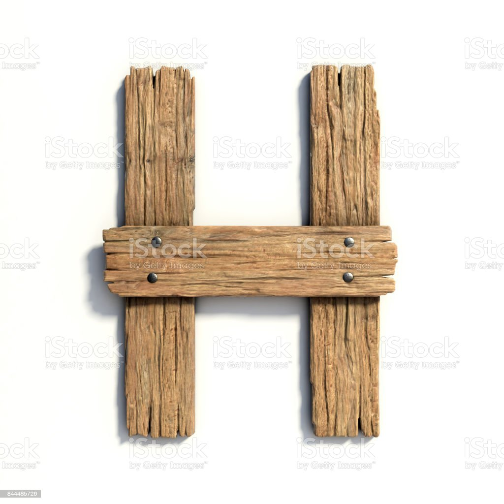 Wood font, plank font letter H stock photo