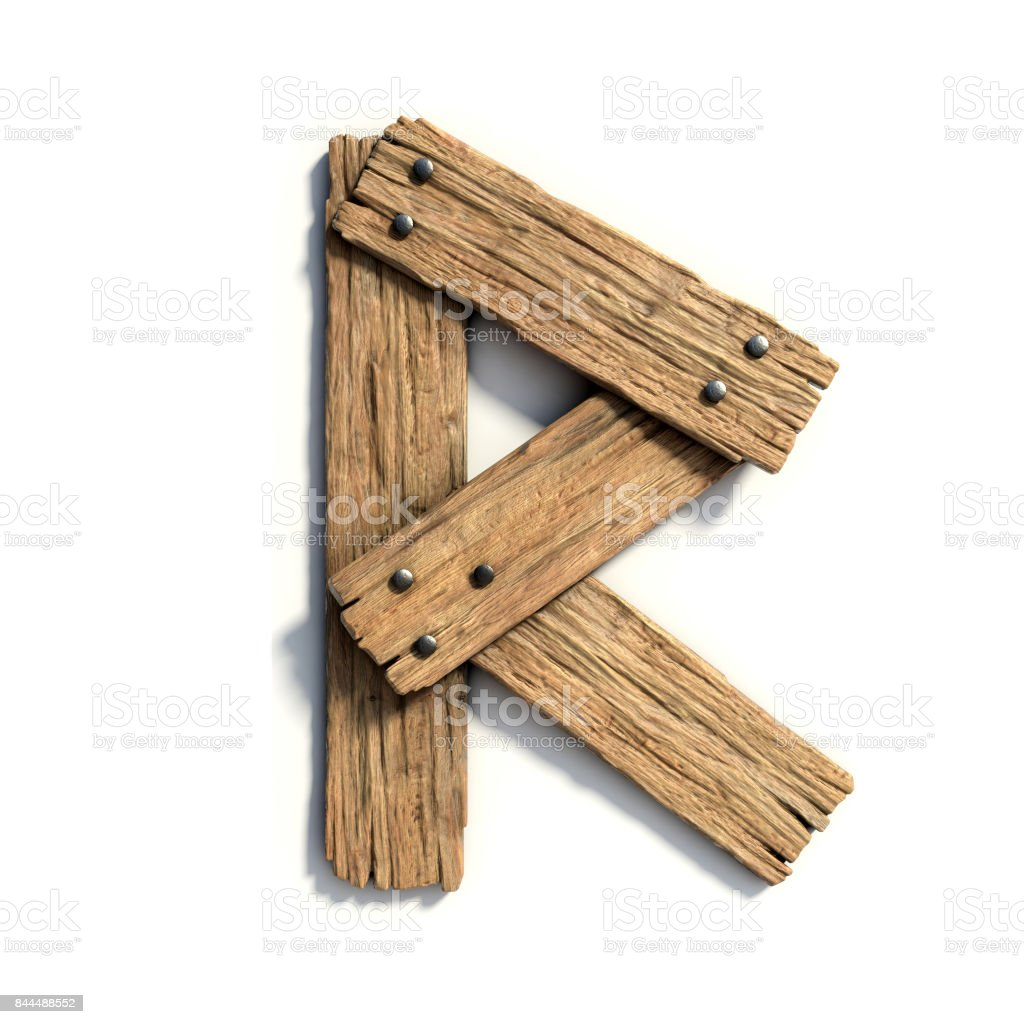 Wood Font, Plank Font Letter R Stock Photo