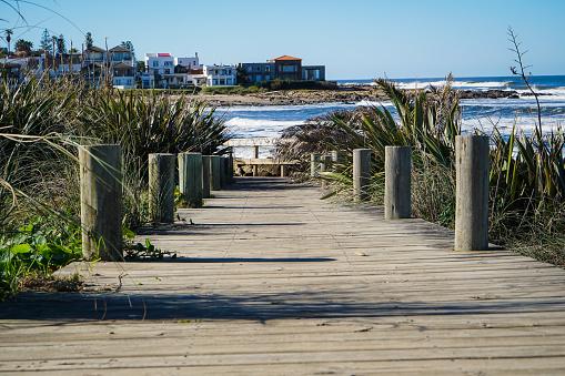 Wood footpath to the beach
