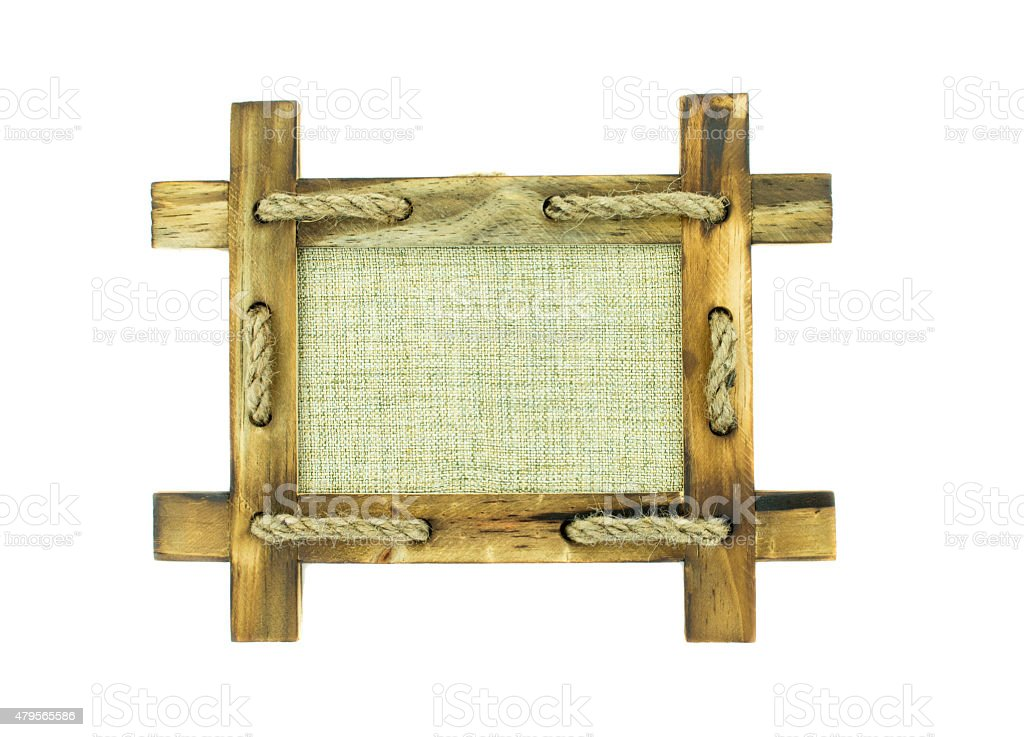 Wood frame  isolated  on white background stock photo