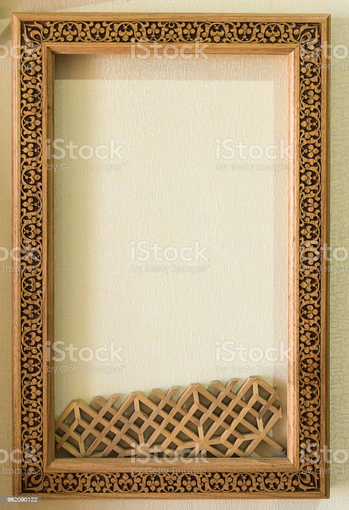 Wood Frame On The Wall Wooden Frame With Middle Eastern Ornament ...