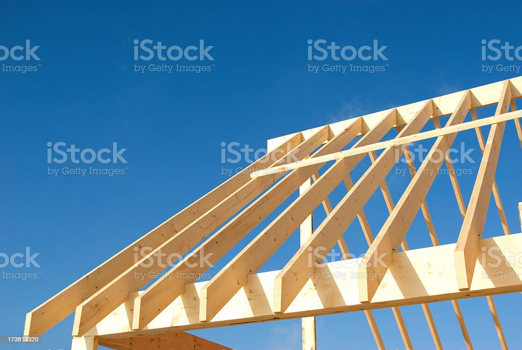 Wood frame roof construction stock photo 173613320 istock - Build wood roof abcs roof framing ...
