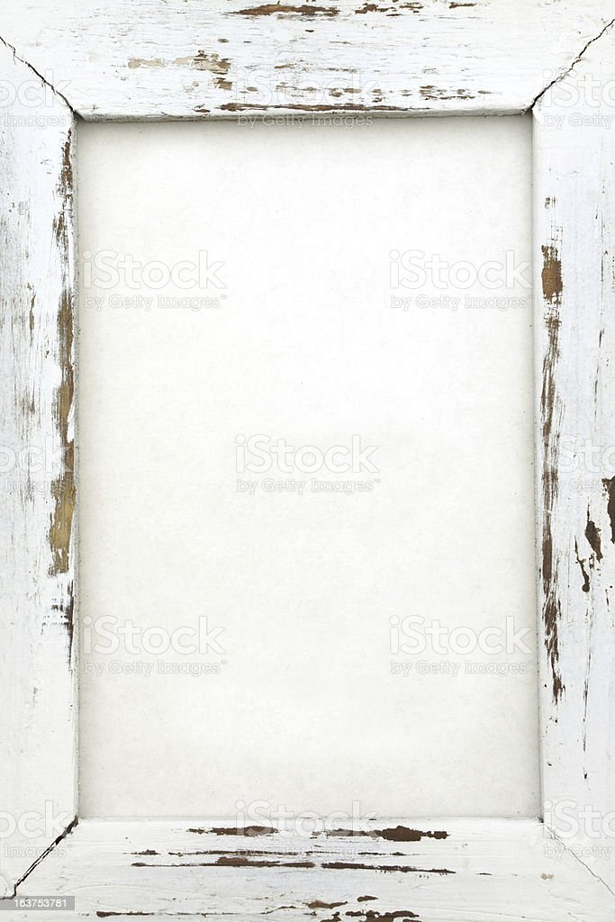 Wood Frame with chipped white paint and copy space royalty-free stock photo