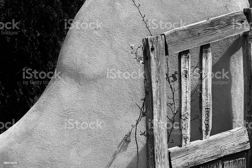 Wood Gate and Adobe Wall royalty-free stock photo