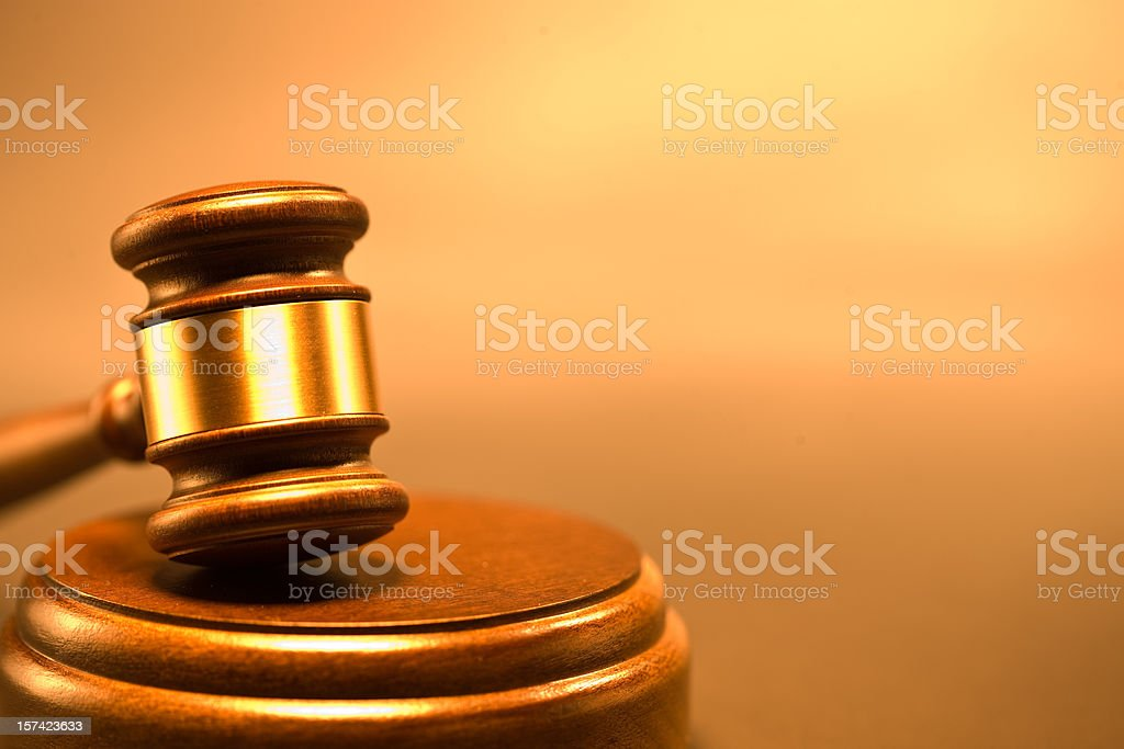 Wood gavel and sounding block royalty-free stock photo
