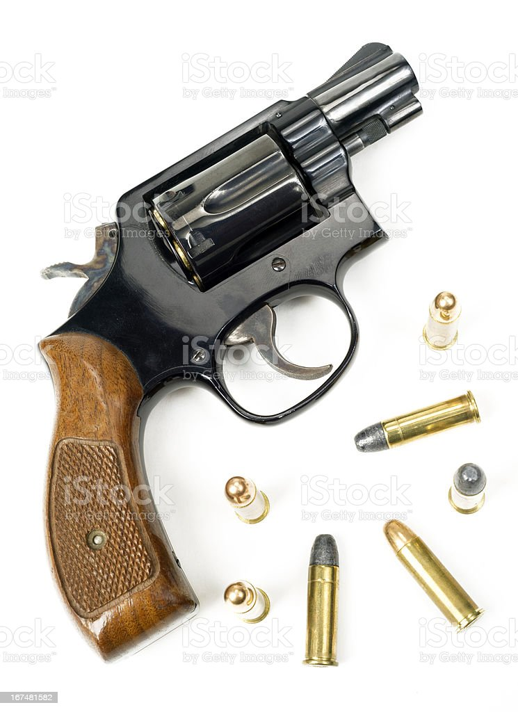 Wood Handled Revolver 38 Caliber Pistol Weapon Loaded Laying Bullets Stock Photo Download Image Now Istock