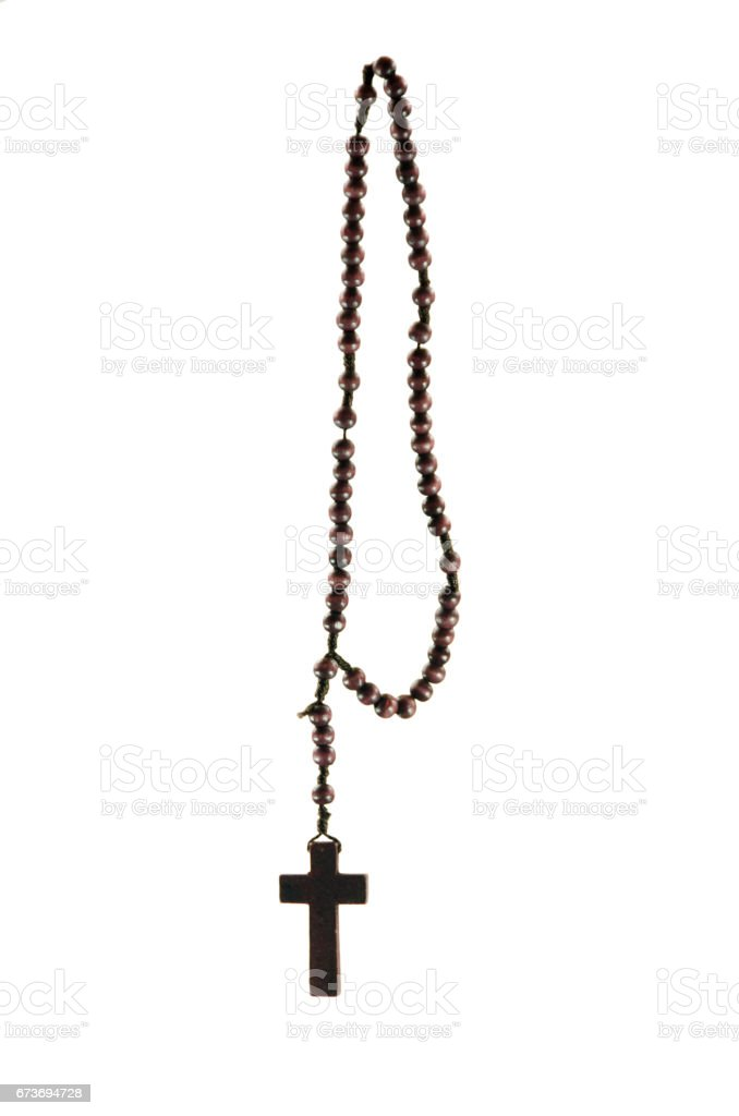A wood homemade rosary with white background stock photo