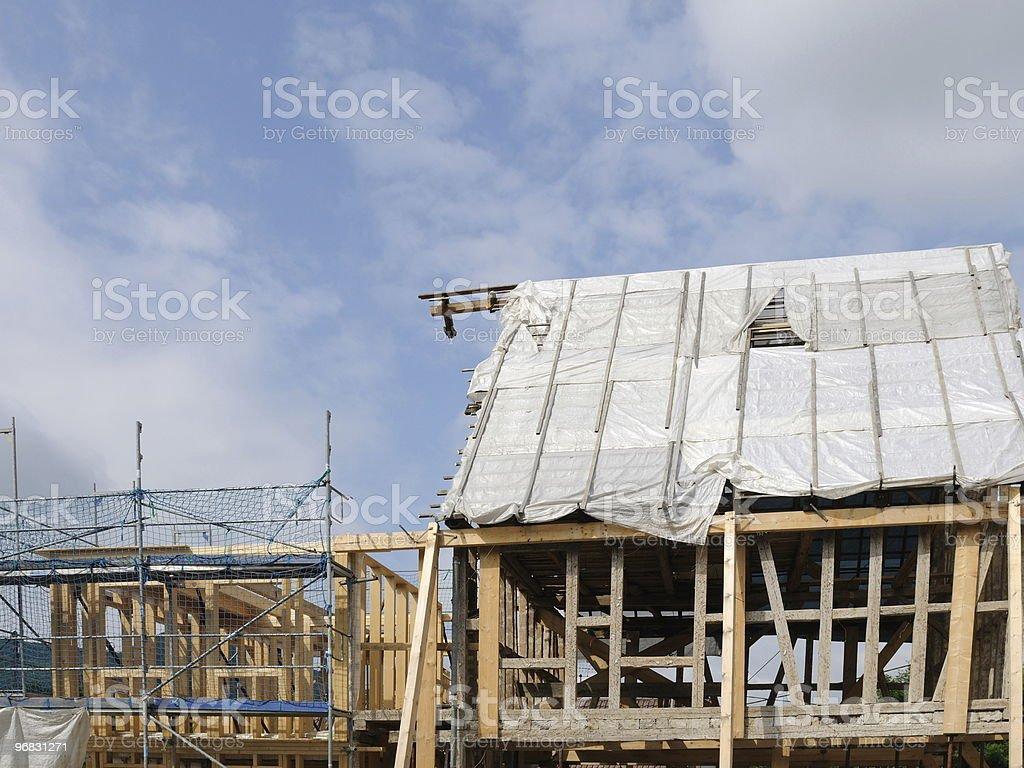 Wood House Construction royalty-free stock photo