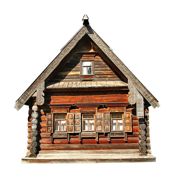 Wood house Old wooden house isolated over white background russian dacha stock pictures, royalty-free photos & images