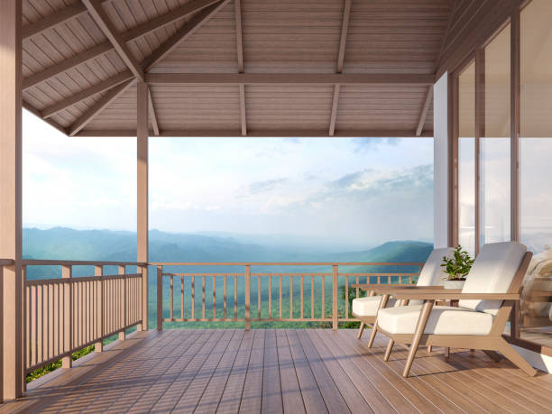 holz haus terrasse mit berg 3d render - mountain home interieur stock-fotos und bilder