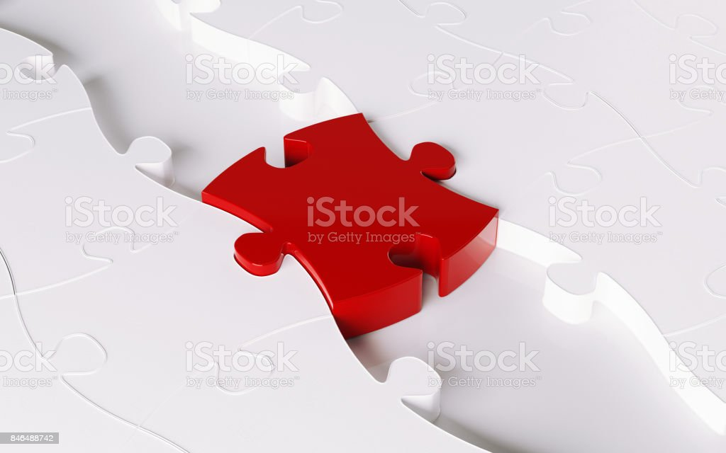 Wood Jigsaw Puzzle Forming A Bridge; Bridging Concept stock photo
