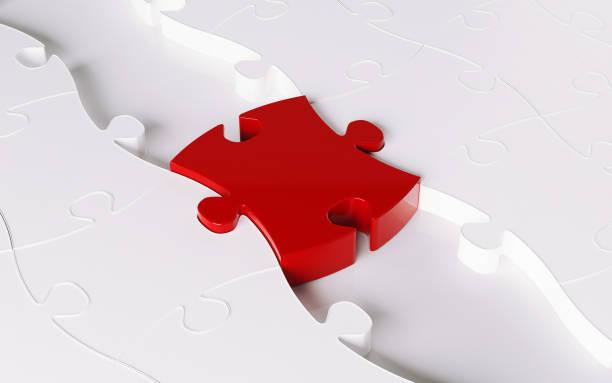 Wood Jigsaw Puzzle Forming A Bridge; Bridging Concept stock photo