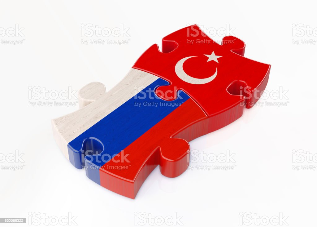 Wood Jigsaw Puzzles Textured With Turkish And Russian Flags