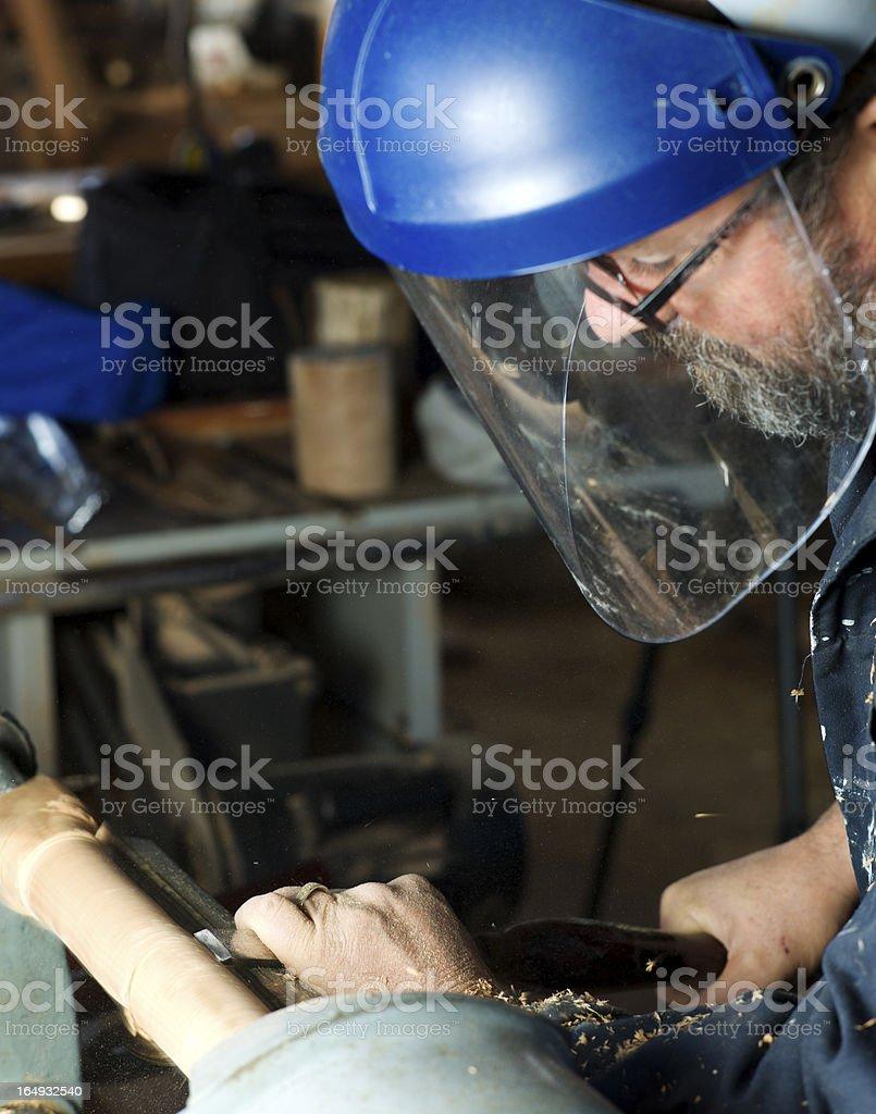Wood Lathe Worker. royalty-free stock photo
