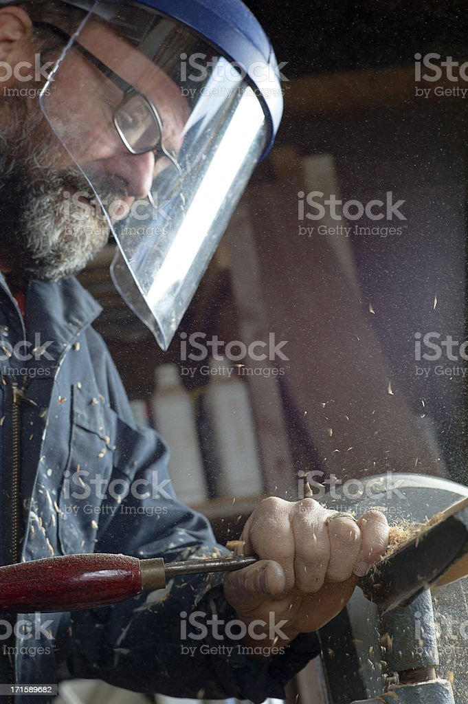 Wood Lathe Worker. royalty-free stock photo