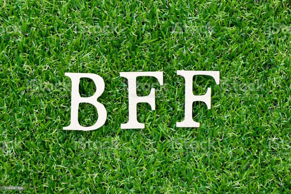 Wood letter block in word BFF (Abbreviation of best friend forever) on artificial green grass background stock photo