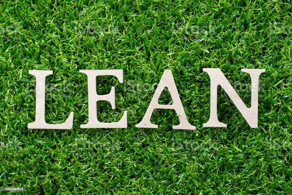 Wood letter in word lean on artificial green grass background stock photo