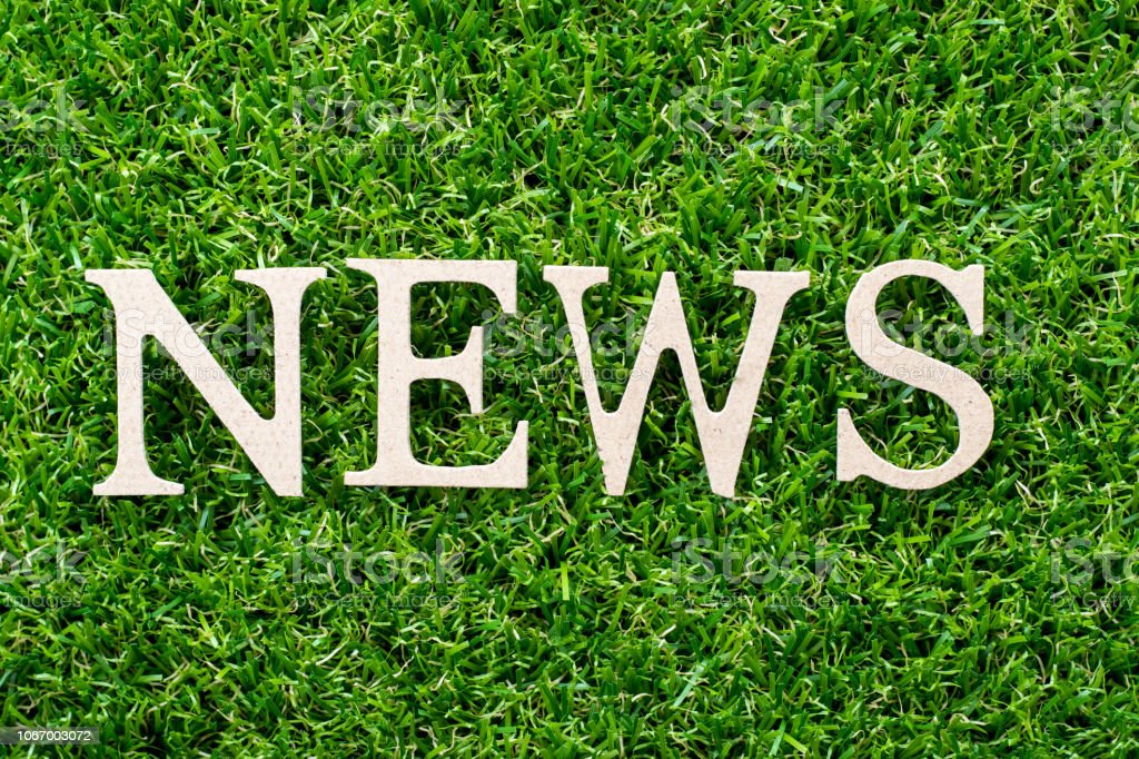 Wood letter in word news on artificial green grass background stock photo