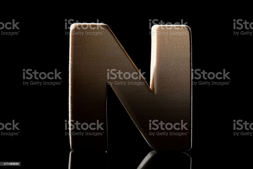 N, wood letter royalty-free stock photo