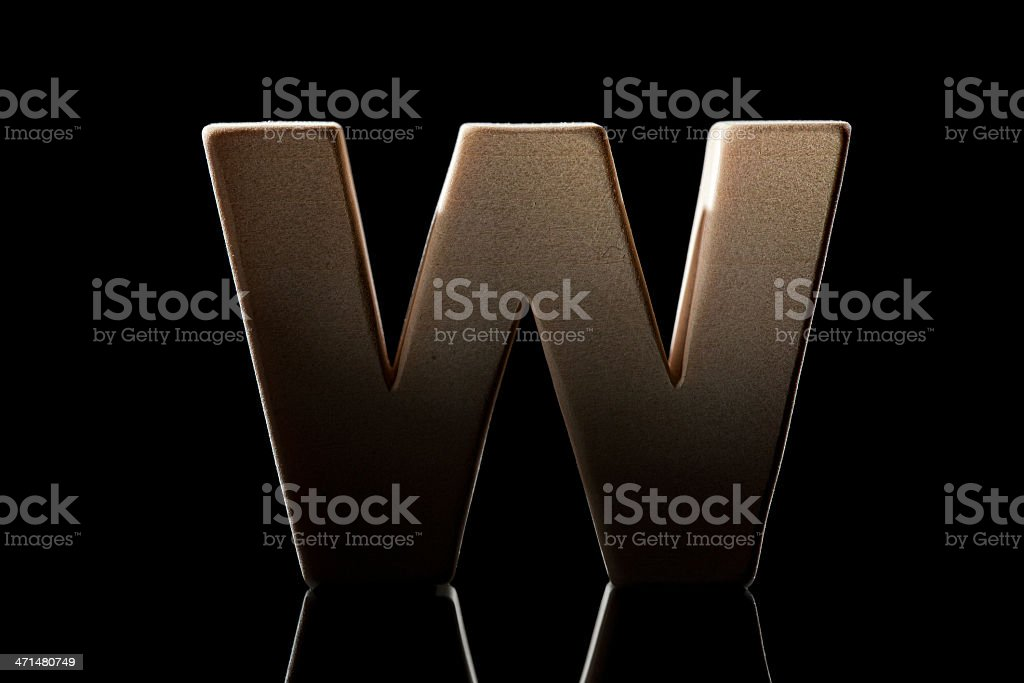 W, wood letter royalty-free stock photo