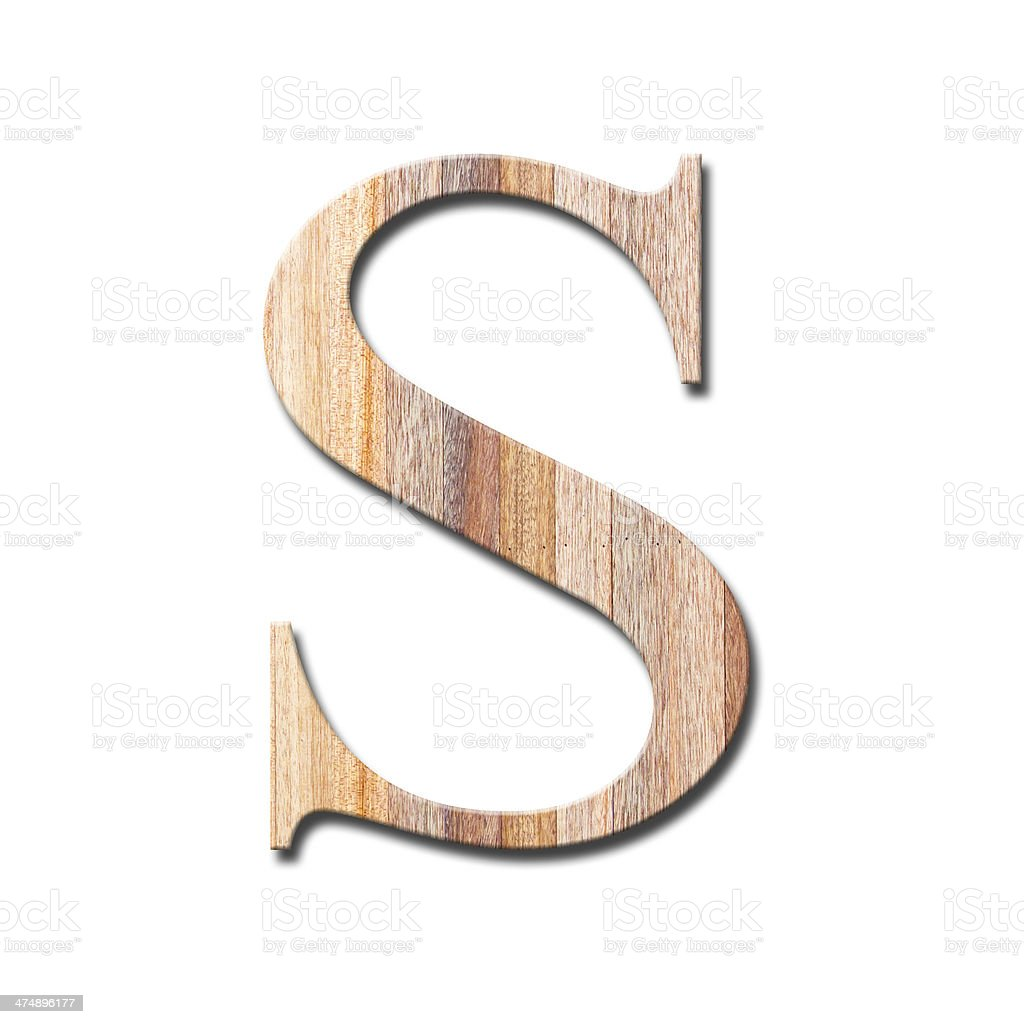 Wood Letter S stock photo