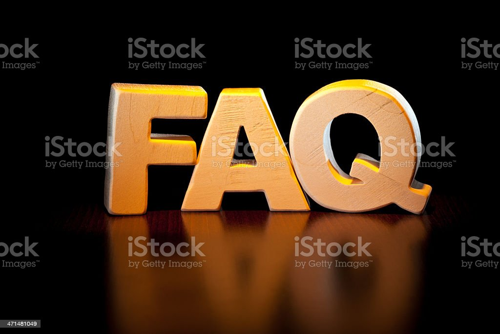 FAQ, wood letter word royalty-free stock photo