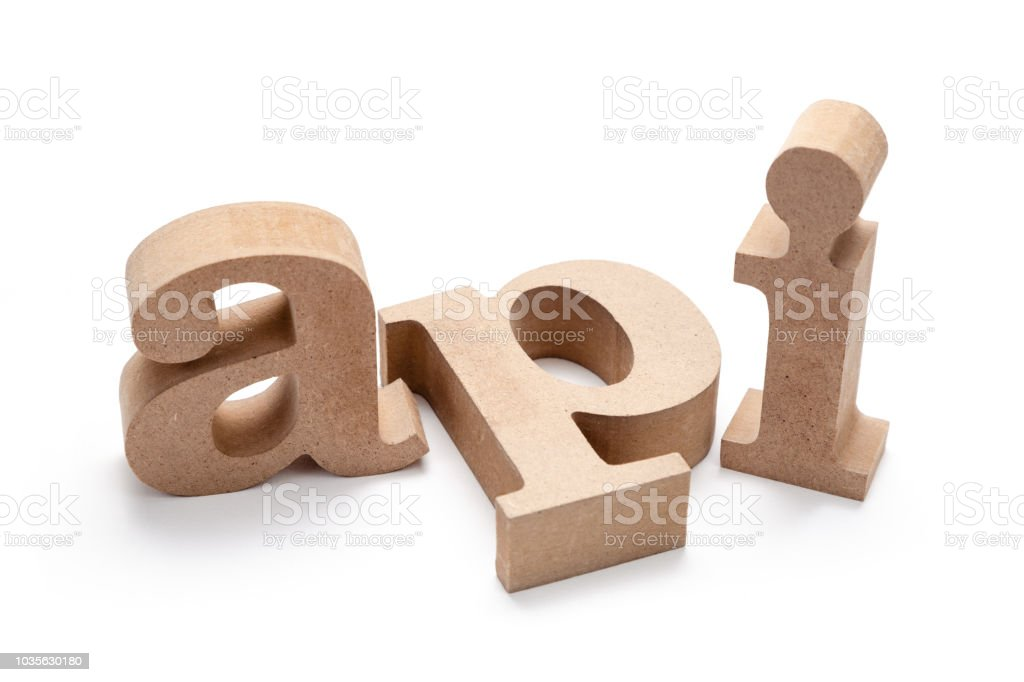 API Wood Letters - fotografia de stock