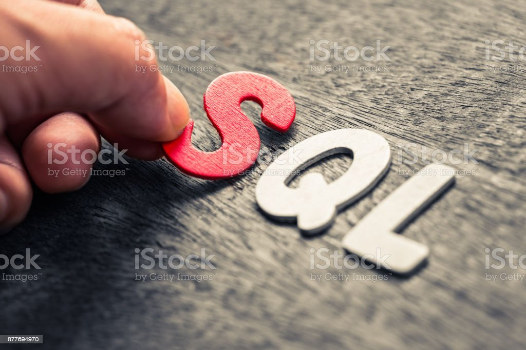 SQL wood letters stock photo
