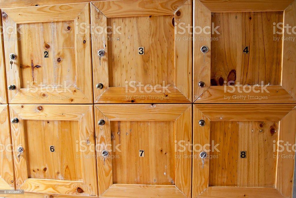 Wood locker stock photo