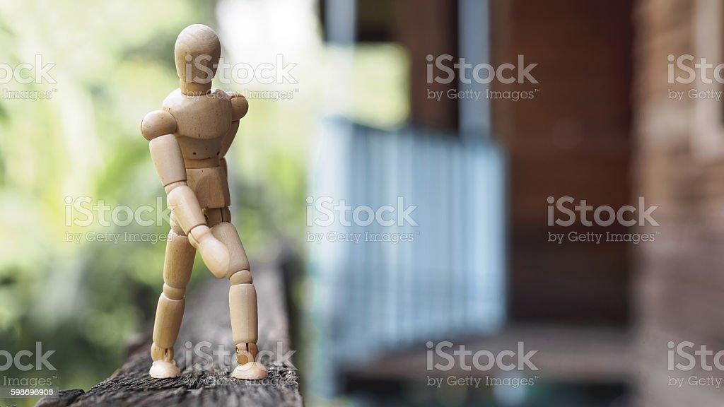 Wood man walk stock photo