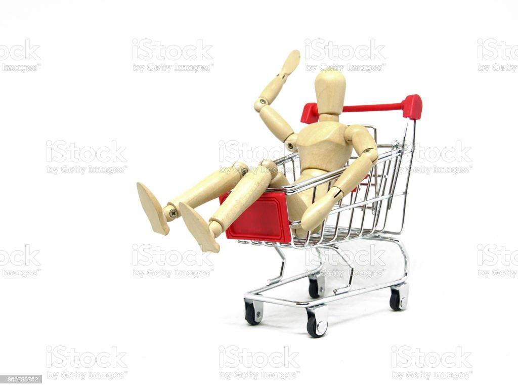 Houten PROEFPOP winkelen met kar. - Royalty-free Activiteit Stockfoto