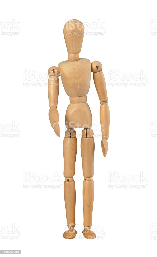 Wood mannequin holds out her hand stock photo