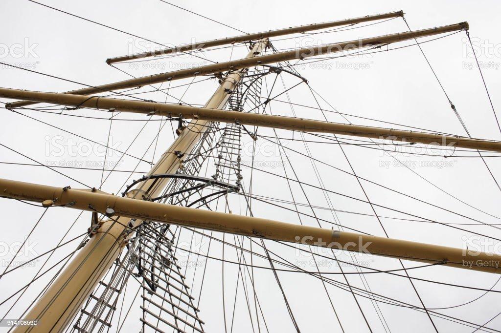 Wood mast of a sailing ship. stock photo