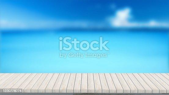 istock wood mockup stand podium 3d render background template design blurred background 1220778274