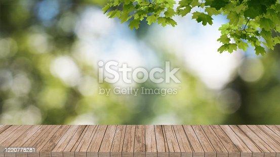istock wood mockup stand podium 3d render background template design blurred background 1220778281