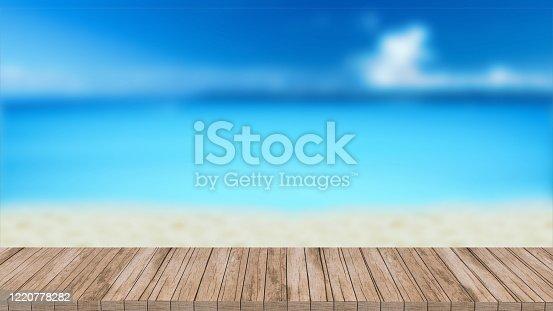 istock wood mockup stand podium 3d render background template design blurred background 1220778282