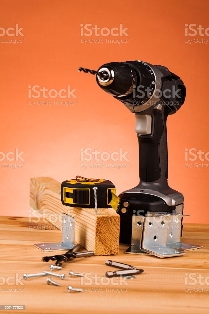 wood mounting tools stock photo