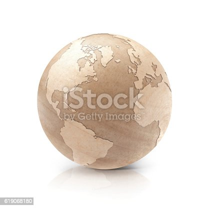 171057063istockphoto Wood North and South America world map 3D illustration 619068180