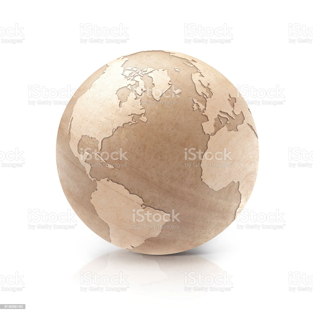 Wood North and South America world map 3D illustration stock photo