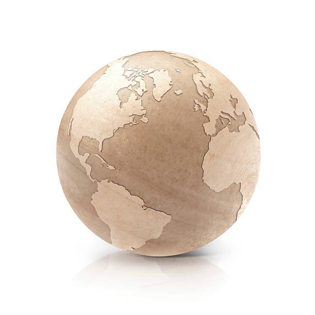 wood north and south america world map 3d illustration - kanada rundreise stock-fotos und bilder