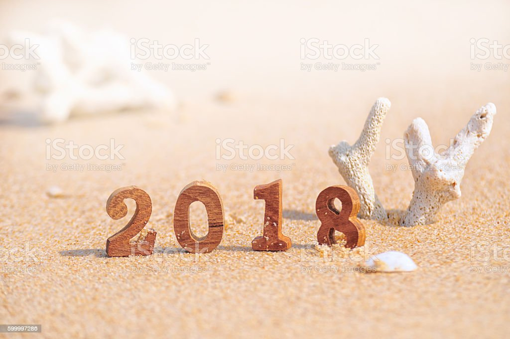 Wood number 2018 on tropical beach background stock photo