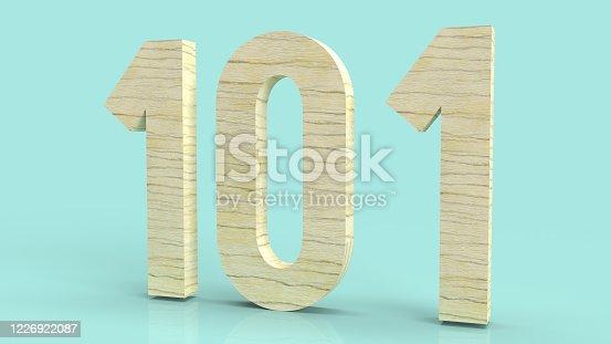The 101 wood number 3d rendering on blue background symbol for beginner concept