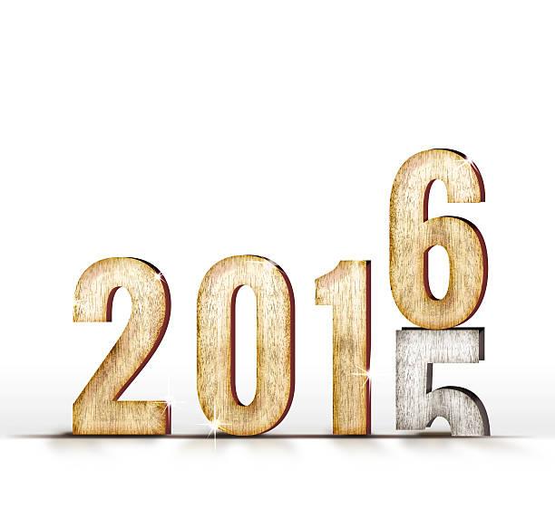 modifier le numéro de 2015 en bois de l'année 2016 sur fond blanc studio - 2015 photos et images de collection