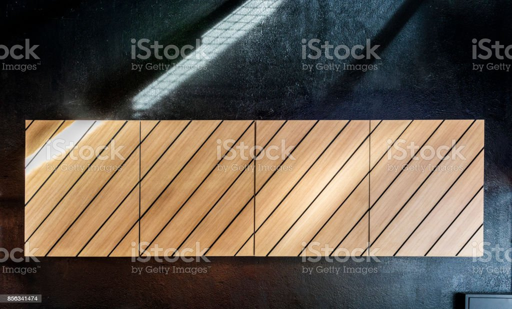 wood on black wall or copy space background stock photo