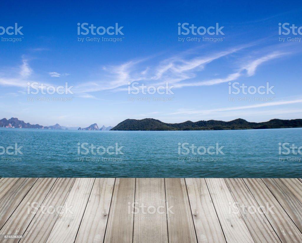 wood on the sea stock photo