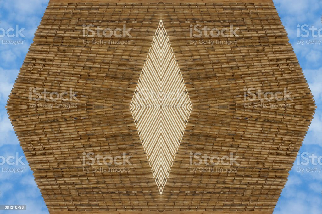 Wood ornamental pattern against blue sky royalty-free stock photo