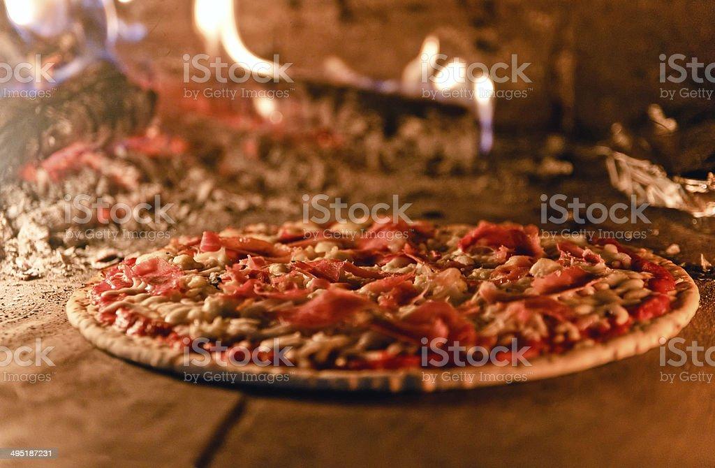 wood oven/brick oven pizza stock photo