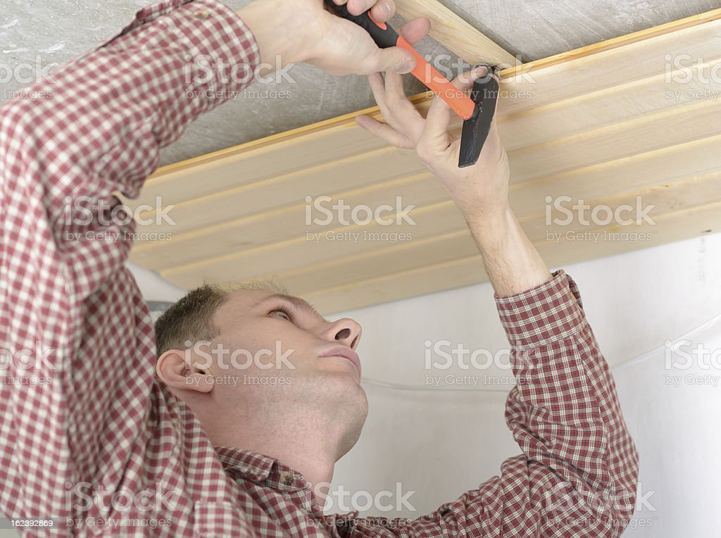Wood paneling the ceiling royalty-free stock photo