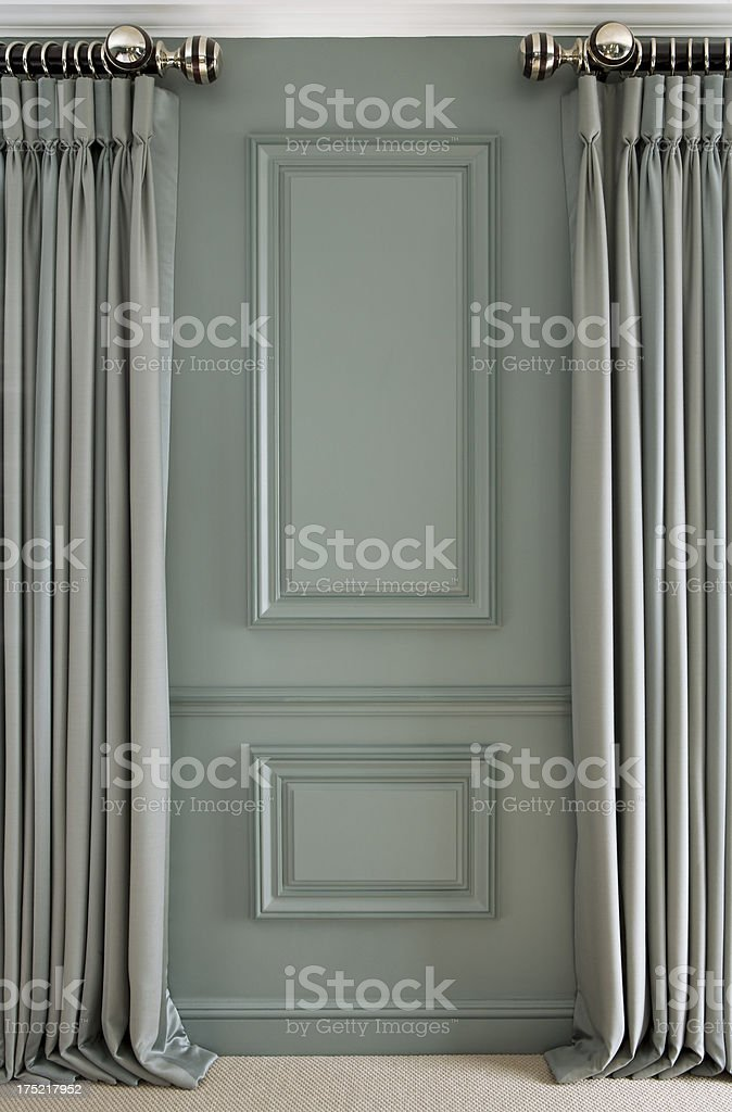 wood panelling and curtains stock photo
