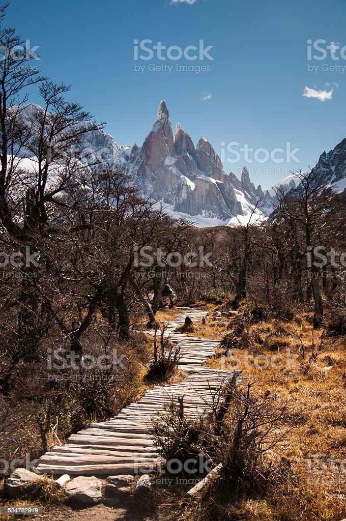 Ruta de madera de las montañas en chalten fiz roy, argentina - foto de stock